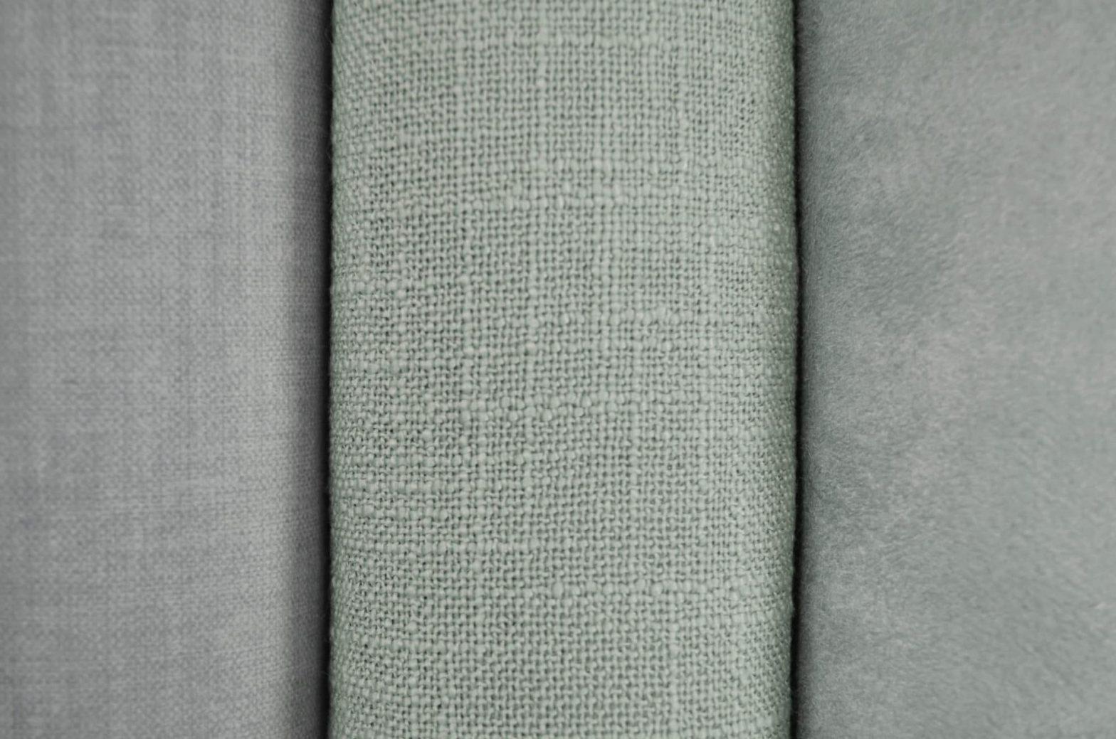 Tecidos Veludo Floss Iron, Ferrara Cânfora e Padova Celadon Promex Decor